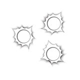 Bullet holes. Three Bullet holes on white paper Royalty Free Stock Photos