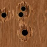Bullet Holes in Wood. Seamless Texture Tile stock image