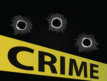 Bullet holles. With crime scene tape Royalty Free Stock Photography