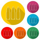 Bullet icon, Bullets sign, color icon with long shadow. Simple vector icons set Stock Photography
