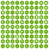 100 bullet icons hexagon green. 100 bullet icons set in green hexagon isolated vector illustration Royalty Free Stock Photo