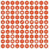 100 bullet icons hexagon orange. 100 bullet icons set in orange hexagon isolated vector illustration Royalty Free Stock Image