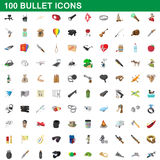 100 bullet icons set, cartoon style. 100 bullet icons set in cartoon style for any design vector illustration Stock Photo