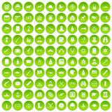 100 bullet icons set green circle. Isolated on white background vector illustration Royalty Free Stock Photography