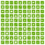 100 bullet icons set grunge green. 100 bullet icons set in grunge style green color isolated on white background vector illustration Vector Illustration