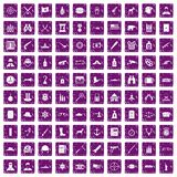 100 bullet icons set grunge purple. 100 bullet icons set in grunge style purple color isolated on white background vector illustration Stock Photos
