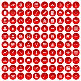 100 bullet icons set red. 100 bullet icons set in red circle isolated on white vector illustration Stock Illustration