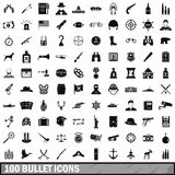 100 bullet icons set, simple style. 100 bullet icons set in simple style for any design vector illustration Royalty Free Stock Photos