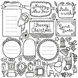 Bullet journal and Christmas doodle vector elements. Bullet journal, Christmas, New Year and winter hand drawn vector elements for notebook, diary and planner stock illustration