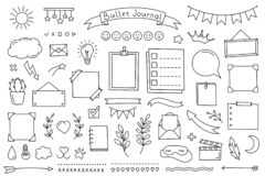 Free Bullet Journal Doodle Set Hand Drawn Elements For Diary, Notebook And Planner. Vector Calendar For Study And Work. Collection Of Stock Photo - 220484510
