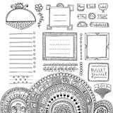Bullet journal hand drawn vector elements. For notebook, diary and planner. Doodle banners isolated on white background. Days of week, notes, list, frames Royalty Free Illustration