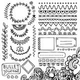 Set of cute hand drawn bullet journal's elements isolated on white background. Bullet journal hand drawn vector elements for notebook, diary and planner Vector Illustration
