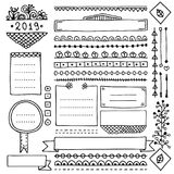 Cute doodle frames and borders for bullet journal. Bullet journal hand drawn vector elements for notebook, diary and planner. Doodle banners isolated on white stock illustration
