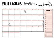 Bullet journal year monthly planner. Vector illustration with handdrawing illustration. Bullet journal year monthly planner. Vector illustration with vector illustration