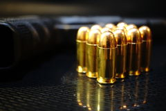 Bullet. A large caliber bullet with a brass casing Royalty Free Stock Photos