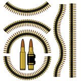 Bullet and machinegun cartridge belt Royalty Free Stock Images