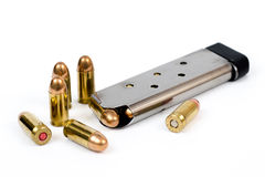 Bullets. Stainless 45 caliber auto magazine or clip Royalty Free Stock Photo