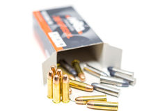 Bullet. Many artillery shells that were contained in boxes Stock Photo