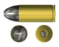 Bullet orthogonal view (3D). Bullet orthogonal view (3D made Royalty Free Stock Photo