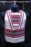 Bullet-proof vest with Ukrainian embroidery at the exhibition Royalty Free Stock Photos