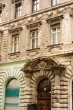 Bullet riddled building. A stark reminder of it`s troubled past, this apartment building in downtown Budapest exhibits hundreds of bullet impacts Royalty Free Stock Images