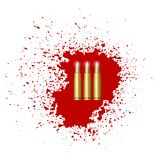 Bullet Set Isolated. On Red Blood Splatter Royalty Free Stock Images