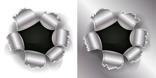 Bullet And Shotgun Hole. Illustration of a shotgun bullet impact hole, slash, working as well on white and metal background Royalty Free Stock Photo