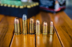 Bullet size  comparison Stock Photography