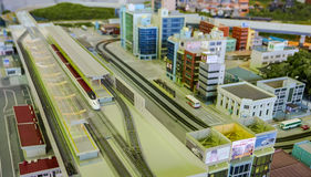 Bullet train in a city diorama. Stock Images