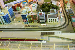 Bullet train city diorama. Royalty Free Stock Image