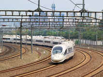 Bullet train departs from Beijing, China Royalty Free Stock Photos