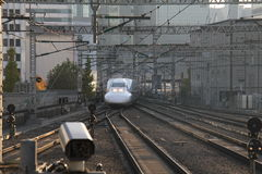 Bullet train entering the station Royalty Free Stock Photography