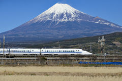 Bullet Train and Fuji Mountain. Bullet Train is the fastest train in Japan Stock Photo