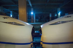 Bullet train in Hangzhou train station. CHINA, HANGZHOU, MAY 5: View of two Bullet trains attached together in Hangzhou train station, May 1st, China Royalty Free Stock Image