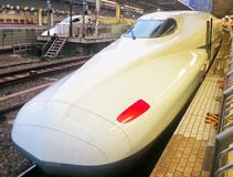 Bullet train in Japan. Front of a bullet train stopped at a station in Tokio Stock Images