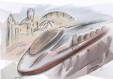 Bullet train. Modern high speed train with motion blur Royalty Free Stock Photos