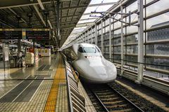 Bullet train in a station in Tokyo, Japan stock photo