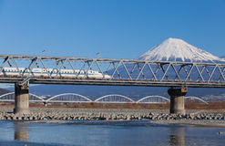 Bullet train Tokaido Shinkansen with view of mountain fuji Stock Image