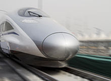 Bullet trains. Modern high speed bullet train in China Stock Photo