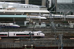 Bullet trains and an express train at Tokyo Station Royalty Free Stock Image