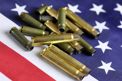 Bullet on the USA flag Stock Photography