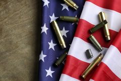 Bullet on the USA flag Stock Image