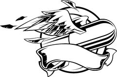 Bullet with wing. Flying bullet with wings and ribbon. Illustration black and white Royalty Free Stock Image