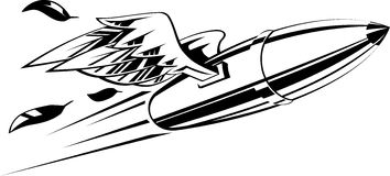 Bullet with wings. Flying bullet with wings. Vector illustration black and white Stock Photo