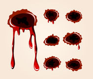 Bullet wound collection. Vector bullet wound collection on a skin color background Stock Photo