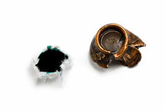 Bullethole en geplette kogel royalty-vrije stock foto