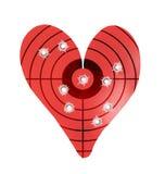 Bulletholes w metalu sercowatym celu zdjęcia stock