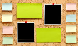 Bulletin board. With notes, business cards and old blank Royalty Free Stock Photo