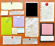 Bulletin board. With paper notes and old blank Royalty Free Stock Image