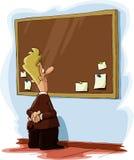 Bulletin board. A man looks at a bulletin board, vector Royalty Free Stock Images
